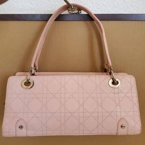 CHRISTIAN DIOR Pink Cannage Lady Dior East/West Sh